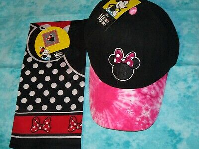 Disney Minnie Mouse 90th  Tie Dye Baseball Hat Cap - Pink Black + bandana