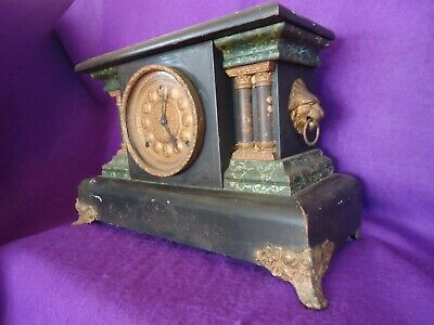 Antique American Bell Chiming Mantle Clock. Spares Or Repair