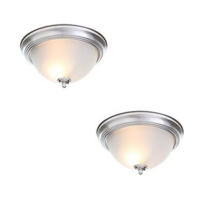 2-Pack Oil Rubbed Bronze Flush Mount Ceiling Light Fixture 11-inch Frosted Glass
