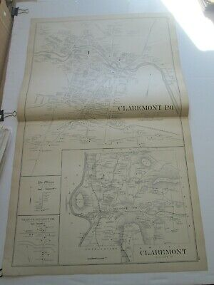1892 New Hampshire Antique Map, Claremont, Plainfield, Sunapee, Georges Mills
