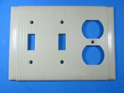 Leviton Ivory Ribbed 2 ganged Switch 1 Outlet Cover Plate