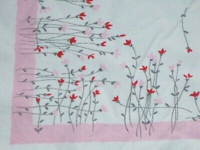 """Vtg Cotton Tablecloth Pink Border w/ MOD Pink & Red Flowers 51"""" x 57"""""""