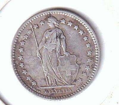 Switzerland Early Silver Franc Dated 1886 **Better Grade Uncleaned Good Detail**