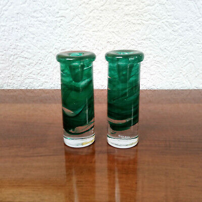 Pair of Green Atoll Candle Holders Anna Ehrner for Kosta Boda
