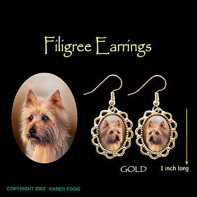 AUSTRALIAN TERRIER DOG - GOLD FILIGREE EARRINGS Jewelry