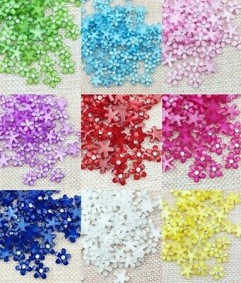 100Pcs 10mm Flatback Resin Rhinestone Buttons Flowers for Crafts Embellishments