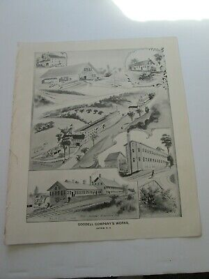 1892 New Hampshire Antique Map,  Goodell Company's Works Antrim New Hampshire