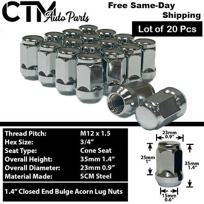 20Pc Ford Chrome Conical Seat 12X1.5 Wheel Lug Nuts Bulge Acorn For Ford