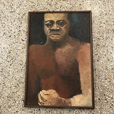 Exceptional Mid Century Abstract African American Painting 1957 Artist Signed