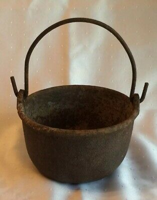 Antique Cast Iron Bowl Small Bucket With Bail Handle Unmarked Rustic Distressed