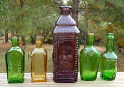 Vintage Wheaton Glass 5 PC BOTTLE LOT Green Amber and Purple Berring's Bitters
