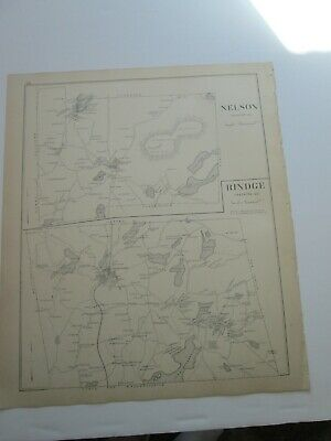 1892 NEW HAMPSHIRE ANTIQUE MAP, CHESTERFIELD AND POs, NELSON, RINGE,