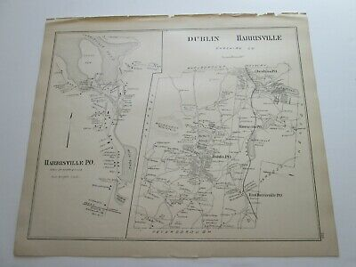 1892 New Hampshire Antique Map,  Harrisville & Po., Dublin, Jaffrey, & Center,++
