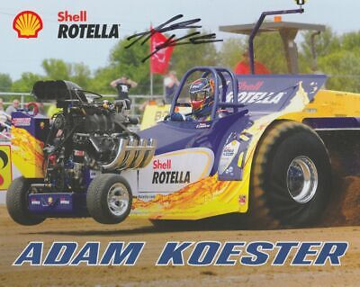 2019 Adam Koester signed Shell Rotella Tractor Pull NTPA postcard