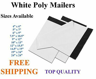 5-3000 White Poly Mailers Shipping Envelopes Self Sealing Plastic Mailing Bags