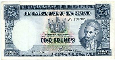 1950's New Zealand Five Pound Banknote Wilson Signature - A5 138702