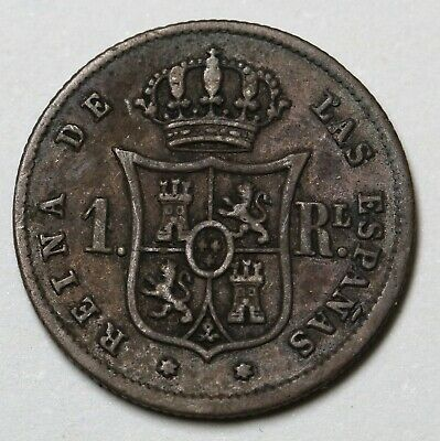 1859 Spain 1 Silver Real Coin Isabel II KM# 606 Cal#403