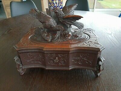 Antique Black Forest, Late 19th Century, Jewellery Box, Pink Lined Inside Base