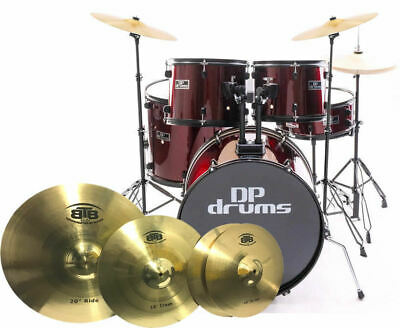 5 Piece Full Size Drum Kit BTB20 4Pce Cymbal Upgrade Stool Wine Red DP Drums Sta