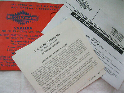 BRIGGS & STRATTON Engine operating  & maintenance  instructions 1950s