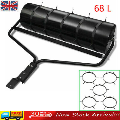 68 L Garden Grass Lawn Roller Metal Water Sand Filled Green with 5 Aerator Bands