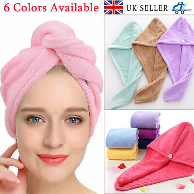 Rapid Drying Hair Towel Thick Absorbent Shower Cap Fast Shipping UK