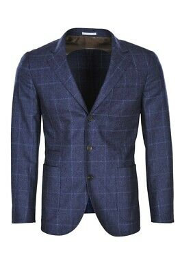 Brunello Cucinelli Blazer Men's 48 Fall Winter 100 % Virgin wool Blue Slim Check
