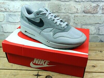 Mens Nike Air Max 1 Grey Leather Suede Sport Active Sneakers Trainers Size Uk 10