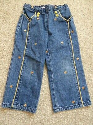 Girls Gymboree Denim Trousers with Sunflower Embroidery Age 3 Years