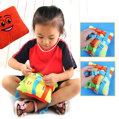 Cute Plush Buckle Toy Toddler Baby Early Learning Basic Life Skills Children-UK