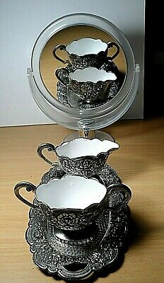 VINTAGE. Two ART DECO Silverplate Creamer Pitchers on a Tray.  Europe.