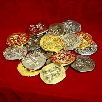 20 Gold and Silver Doubloon Large Metal Pirate Treasure Coins