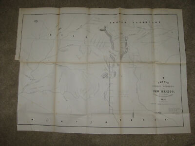 Huge Important Antique 1856 New Mexico Territory Map Native Indian Santa Fe Rare
