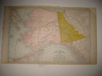 Larg Antique 1904 Alaska British Canada Yukon Gold Mining Region Philippines Map