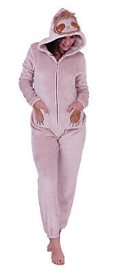 Womens Sloth 1Onesie All In One Hooded Fleece Novelty Dress Up Jumpsuit Onezee