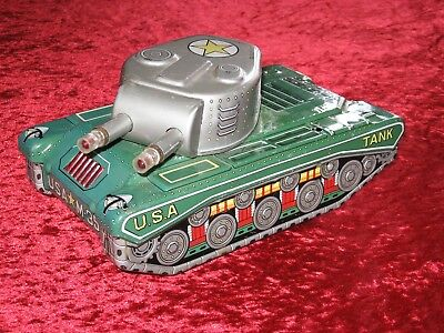 "Toller, alter, batteriebetriebener US Blech-Panzer T-35 ""Alps, Japan""; VINTAGE"