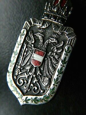 SILVER Austria/Vienna Coat of Arms Double headed Eagle Ruby Crown BADGE Military