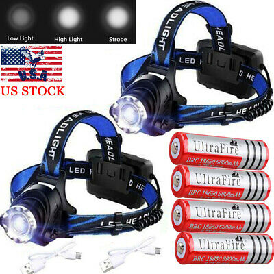 350000Lumen T6 LED Zoomable Headlamp USB Rechargeable Headlight Head 18650 Light