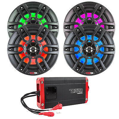 "8"" LED Multicolor Marine Motorsports Speakers - 2 Pairs (Black), 800 Watts Amp"