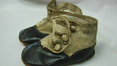 Antique Victorian Edwardian High Top Button Up Leather Baby Shoes