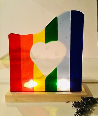 Fused Glass Rainbow Pet Memorial Candle Screen/sun Catcher
