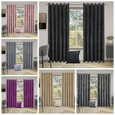 Crushed Velvet Curtains PAIR of Eyelet Ring Top Fully Lined Ready Made UK