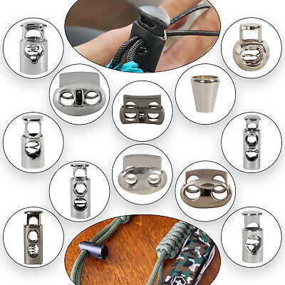 Metal Cord Stopper Lock Toggle Stop End for Cords metal Springs Single Twin Hole