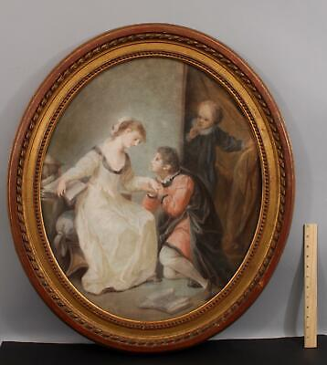 Large Antique Victorian Romantic Pastel Drawing, The Proposal, NO RESERVE!