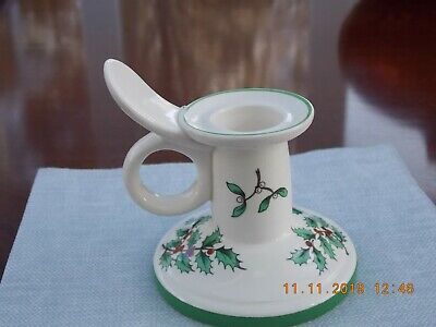 Delightful Spode England Pottery Christmas Tree Candle Holder Holly & Mistletoe