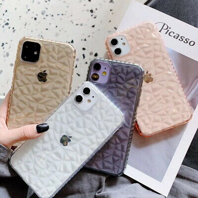 For iPhone 11 Pro Max XS XR 8 Diamond Texture Clear Soft TPU Silicone Case Cover