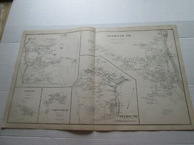1892 NEW HAMPSHIRE ANTIQUE MAP, LYME & POs, PLYMOUTH & PO.s,CANAAN &POs, ORFORD