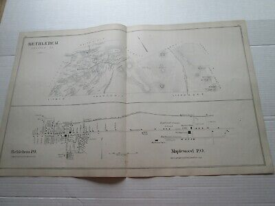 1892 New Hampshire Antique Map, Bethlehem, Maplewood, Hanover Po., Lisbon, ++