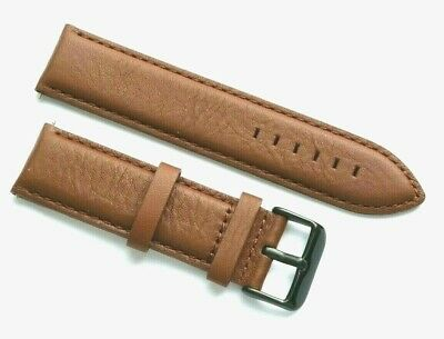 22mm Brown Leather Men's Replacement Watch Strap - TW Steel 22 Black Tone Buckle