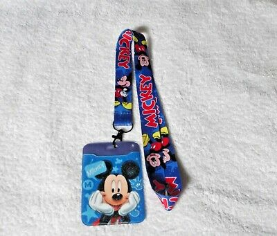 NEW Unwanted ID CARD BADGE PASS HOLDER + Lanyard MICKEY MOUSE DISNEY Gift A